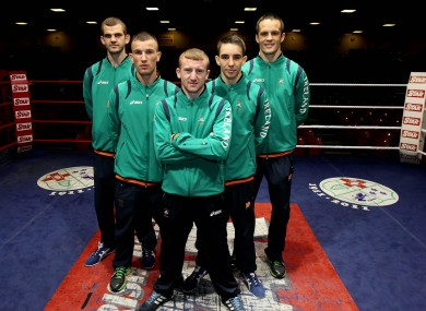 Adam Nolan, John Joe Nevin, Paddy Barnes, Michael Conlon and Darren O'Neill at the launch of the of the Irish Boxing team for London 2012.