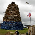 The massive bonfire on the Shankill Estate in West Belfast (AP Photo/Peter Morrison)