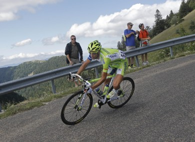 Vicenzo Nibali of Italy speeds down Grand Colombier pass yesterday.