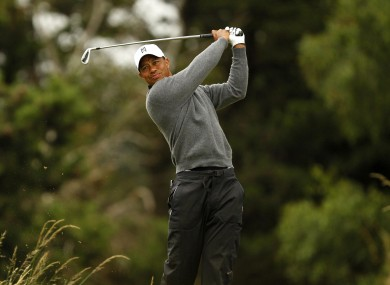 Woods during the second practice day for the British Open this morning.