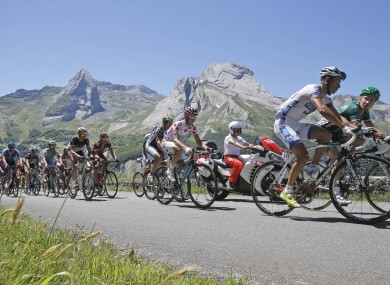 Thomas Voeckler of France, front right, and Sandy Casar of France, front left, lead the breakaway group.