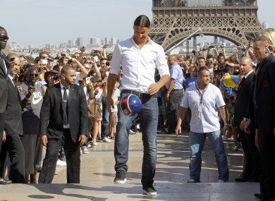 AC Milan striker Zlatan Ibrahimovic in front of the Eiffel Tower.