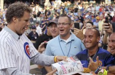 Will Ferrell and Zach Galifianakis threw the first pitch at Wrigley Field and ate pizza on the mound