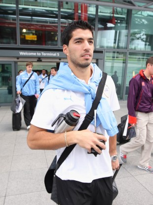 Luis Suarez arriving in London last week ahead of the Games.
