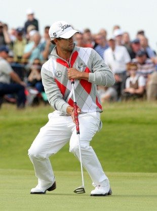 Australia's Adam Scott putts during day three of the 2012 Open Championship.