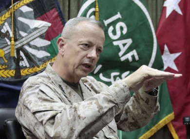 U.S. Gen. John Allen, top commander of the NATO-led International Security Assistance Forces (ISAF) and US forces in Afghanistan