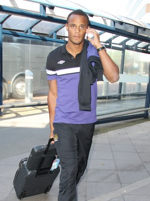 Vincent Kompany at Manchester airport earlier this week.