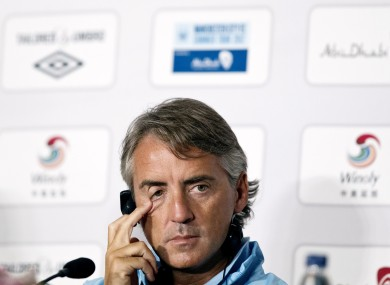 Manchester City manager Roberto Mancini in Beijing today.