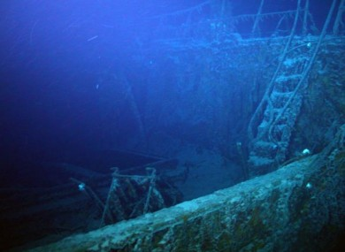 A ladder leading to the forecastle deck of the SS Gairsoppa shipwreck