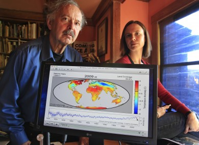 Richard Muller, left, and his daughter, Elizabeth Muller, right, pose with a map from their study on climate