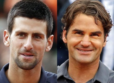 Face off: Novak Djokovic and Roger Federer.