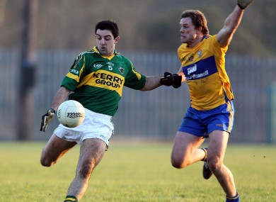 Kerry's Aidan O'Mahony in action against Clare's Niall Browne in last year's McGrath Cup final.