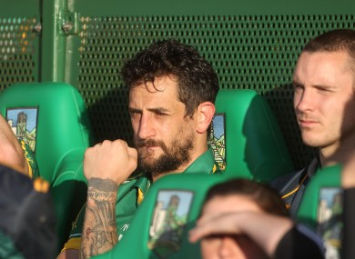 Kerry's Paul Galvin takes his place on the subs bench after being sent off at the weekend.