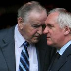 Former Taoisigh Reynolds and Ahern pictured at the removal of Government Minister Seamus Brennan. 
