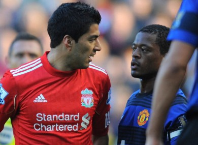 Luis Suarez and Patrice Evra clashed during a Premier League game.