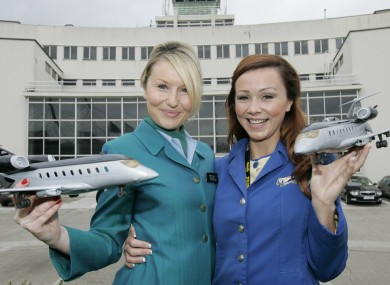 Cabin crew staff from Aer Lingus and Ryanair getting on just fine.