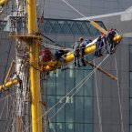 The crew of the Alexander von Humboldt II from Germany hang on to one of the masts. Photo: Sam Boal/Photocall Ireland.