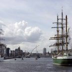 German vessel Alexander von Humboldt II arrives into Dublin. Alexander von Humboldt II is a 2011 German sailing ship built as a replacement for the 1906 training ship Alexander von Humboldt. Constructed in Bremen, she was launched in 2011. Just like her predecessor, the Alexander von Humboldt II is operated by Deutsche Stiftung Sail Training in Bremerhaven which offers sail training for persons between 14 and 75 years of age. Photo: Mark Stedman/Photocall Ireland
