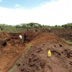 One of the first steps in making a pond. The water will be used to irrigate the greenhouses for four months