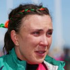 A dejected Annalise Murphy after failing to win a medal in the Laser Class Medal Race in Weymouth
