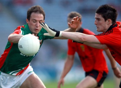 Mayo's Alan Dillon and Down's Brendan McArdle in action in the All-Ireland SFC quarter-final today.