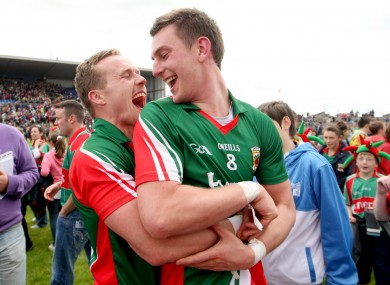 Andy and Barry Moran celebrate after Mayo's Connacht final triumph.