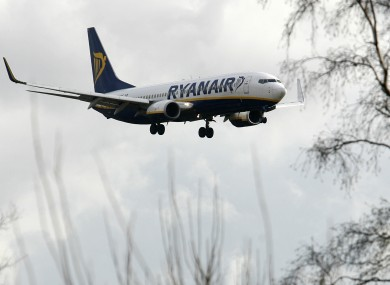 A Ryanair plane landing at Liverpool John Lennon Airport
