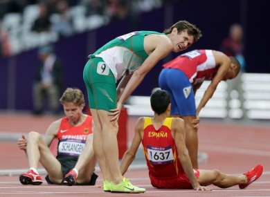Ireland's Ciaran O'Lionard after finishing the Men's 1500m heats well down the field.