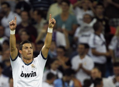 Ronaldo celebrates his goal. 