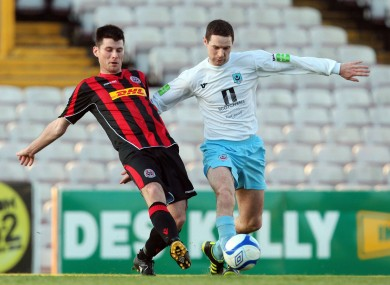 Bohs' Dinny Corcoran (left) and Alan McNally of Drogheda.