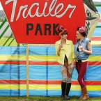 From left: Hair stylists Dona Watchorne and Emma Clancy pause at the Trailer Park area of the festival site. (Photo: Niall Carson/PA Wire)