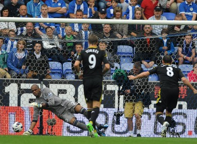 Frank Lampard, right, scores Chelsea's second from the penalty spot.