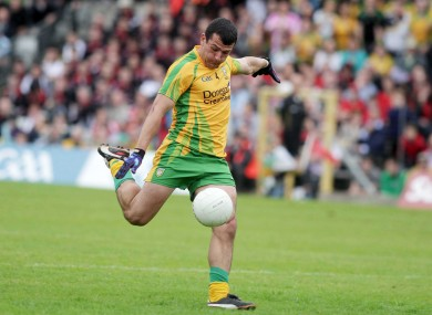Donegal's Frank McGlynn scores a goal in the Ulster final against Down.