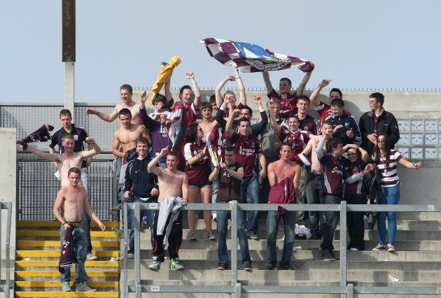 Galway supporters celebrate on Hill 16 after the game 12/8/2012