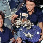 Kathryn D Sullivan and Sally Ride show sleep restraints