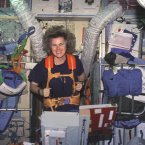 Astronaut Shannon W Lucid on Treadmill in Russian Mir Space Station in 1996.