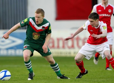 Ian Bermingham (right) and Daryl Horgan of Cork.