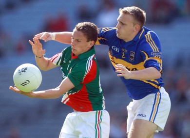 Mayo's James Quinn in action against Tipperary's Kevin Fahey today.