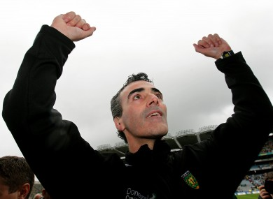  Donegal's Jim McGuinness celebrates after yesterday's game.