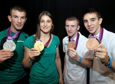 Ireland's John Joe Nevin, Katie Taylor, Paddy Barnes and Michael Conlan show off their medals.