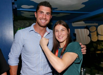 Leinster player Rob Kearney with Irish gold medallist Katie Taylor.