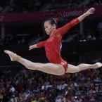 Chinese gymnast Sui Lu during the artistic gymnastics men's apparatus finals at the 2012 Summer Olympics, Tuesday, Aug. 7, 2012, in London. (AP Photo/Julie Jacobson)