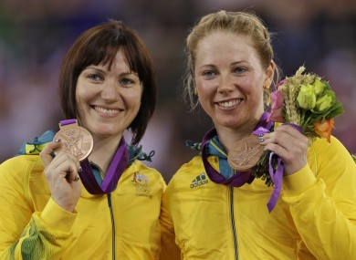 Australia's Kaarle McCulloch, right and teammate Anna Meares, show off their bronze medals.