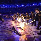 The Olympic cauldron is lit during the Opening Ceremony at  the 2012 Summer Olympics, Saturday, July 28, 2012, in London. (AP Photo/Leon Neal, Pool)