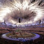 Fireworks explode during the Opening Ceremony at the 2012 Summer Olympics, Friday, July 27, 2012, in London. (AP Photo/Paul Sancya)