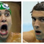 In this combination of two photos, South Africa's Chad le Clos, left, reacts as he wins gold, and the United States' Michael Phelps, reacts after winning silver in the men's 200-meter butterfly swimming final at the Aquatics Centre in the Olympic Park during the 2012 Summer Olympics in London. (AP Photo)