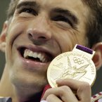 United States' Michael Phelps at the Aquatics Centre in the Olympic Park during the 2012 Summer Olympics in London, Tuesday, July 31, 2012. (AP Photo/Matt Slocum)