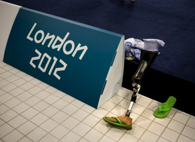The prosthetic leg of swimmer Elizabeth Stone from the United States is seen as she trains at the Aquatic Centre.
