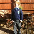 Lucas Keogh is all set for his first day at St Mary's National School in Enfield today. 