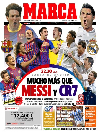 Any football on in Spain tonight? Let's have a look at the front of Marca…